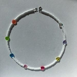 Clear colorful heart beaded necklace